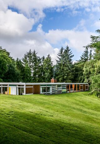 Bernat Klein's long and flat home nestled amongst trees.