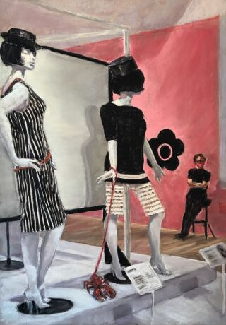 Painting of two mannequins dressed in Mary Quant pieces. A Visitor Assistant sits on a chair nearby with a mask on.