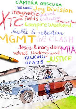 Hand-drawn flyers from the Dundee indie clubnight Felt, showing a drawing of a Nintendo Gameboy, crayons and band names