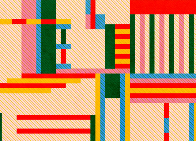 Colourful patteren of small rectangles aranged in various ways.