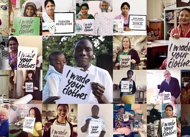 A montage of many images of people holding signs relating to sustainable fashion.