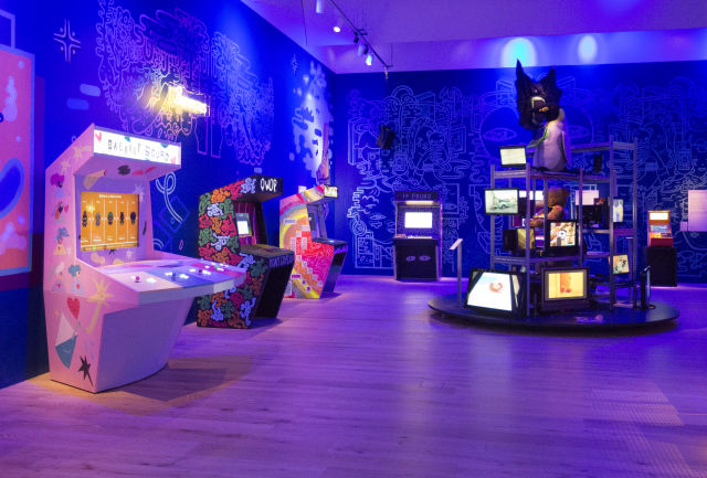 Photo of arcade section of our videogames exhibition