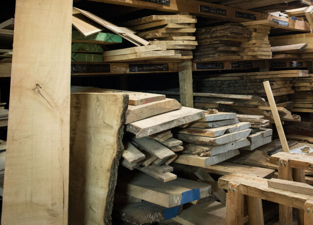 A pile of wooden planks.