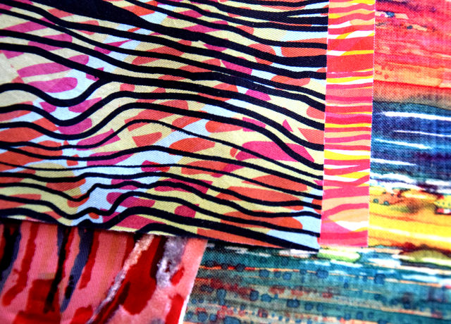Fabric print samples stacked on top of each other