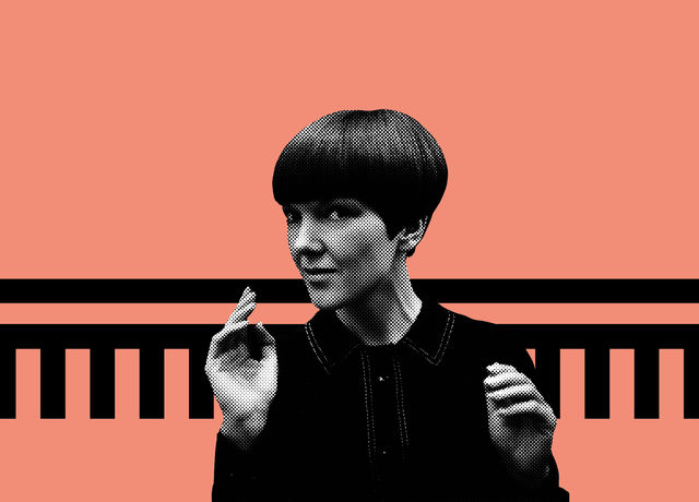 Picture of Mary Quant superimposed on a pink background with a black graphical embellishment