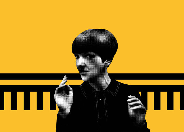 Picture of Mary Quant superimposed on a yellow background with a black graphical embellishment