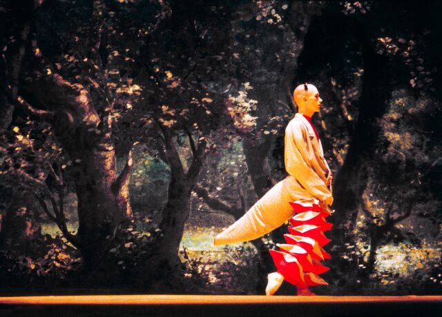 Theatrical scene of a man in an elaborate costume in mid dance in front of a floral backdrop.