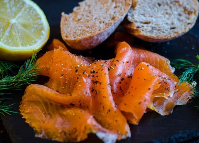 A plate of smoked salmon