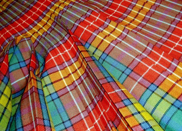 Close-up of multi-coloured tartan kilt