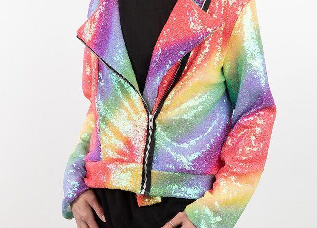 Photo of Rainbow Sequin Biker jacket being worn