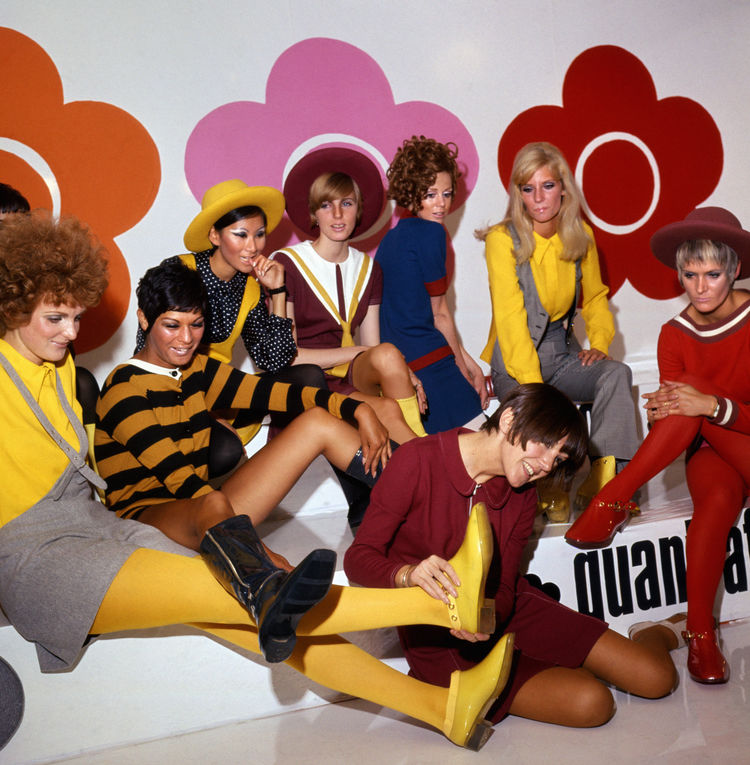 Mary Quant and models at a footwear launch in 1967.
