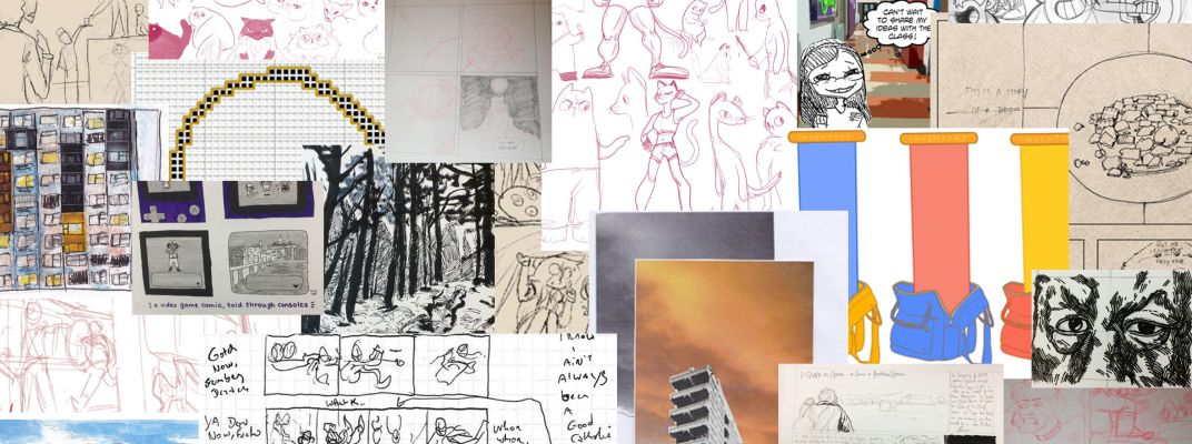 A collage of many different sketches and experiments in webcomic production.