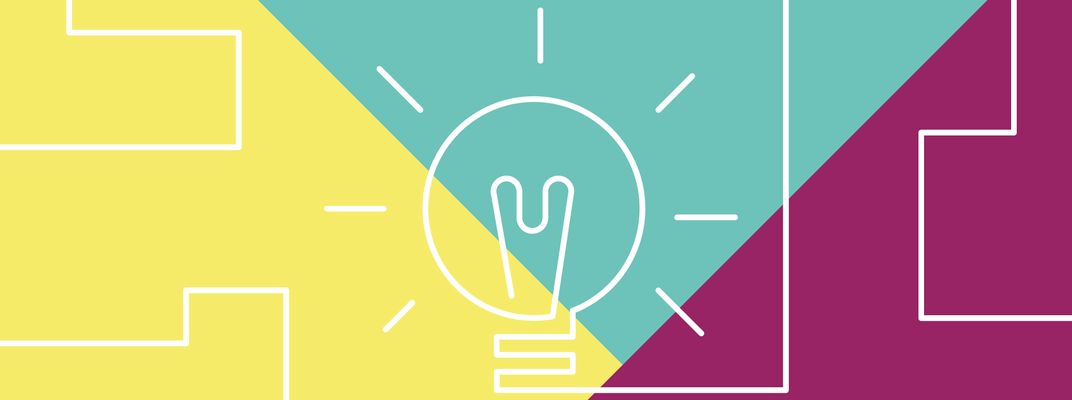 Line art lightbulb over a background made of large coloured triangles