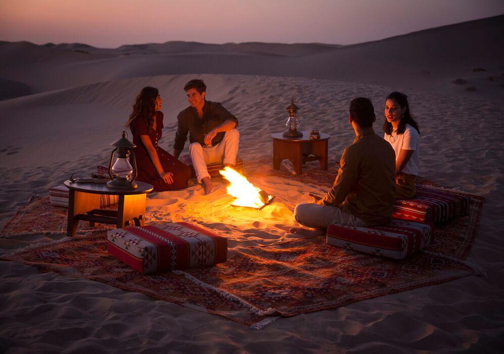 Dining at Al Maheet Desert Camp