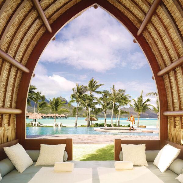 Poolside view at Four Seasons Resort Bora Bora