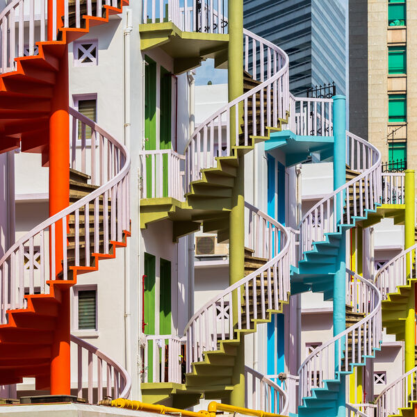 Colorful spiral stairs of Singapore's Bugis Village