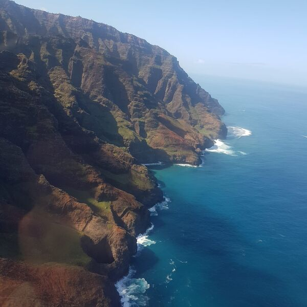 View of the coastline from the helicopter