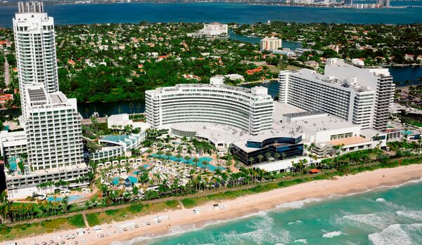 Aerial View Of Hotel And Miami Beach