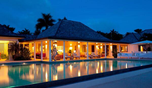 Villa Exterior By Night