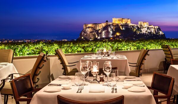 Roof Garden Restaurant At Dusk, With Acropolis View