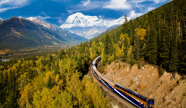Birds-eye View Of Train In Mount Robson