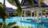 Lazy Lizard  Estate House at  Jumby Bay Island : Swimming Pool With Floating Dining Pavilion